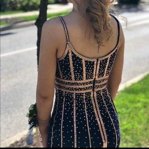Navy blue and rose gold size 3 prom dress